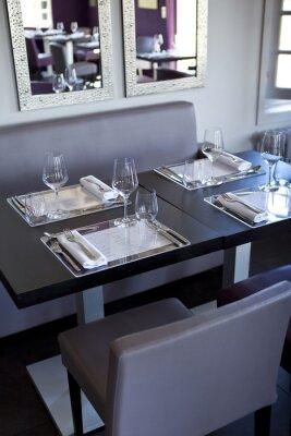 Cuadro Restaurante, salle, bistrot, mesas, couverts, gastronomie