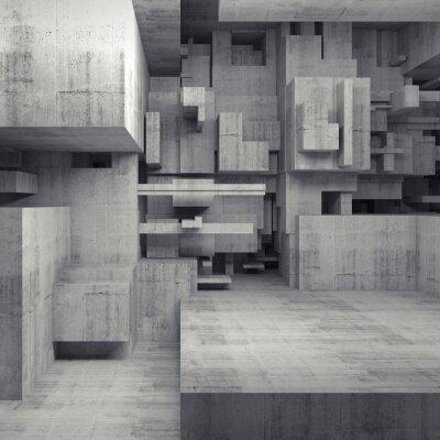 Cuadro Resumen 3d interior de hormigón con cubos caóticos