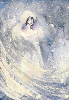Cuadro Resumen acuarela ilustración que representa un retrato de una mujer-invierno