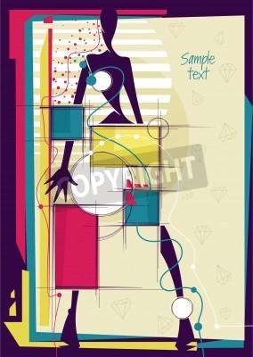 Cuadro Resumen chica en el fondo de moda brillante. Lugar para el texto. Ilustración del vector.