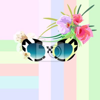 dcf86e4466 Cuadro Resumen de acuarela dibujar gafas de sol con patrón geométrico  (blanco y negro)