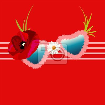 228a7b4f8c Cuadro Resumen de acuarela dibujar gafas de sol divertido, forma de corazón,  marco floral