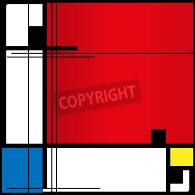 Cuadro Resumen de antecedentes en el estilo de un cubismo,, azul, cuadrados amarillos rojos