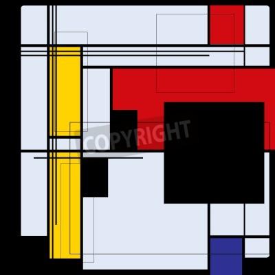 Cuadro Resumen de antecedentes en el estilo de un cubismo, rojo, azul, amarillo cuadrados