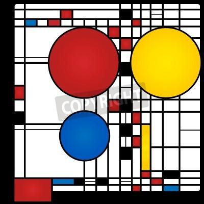 Cuadro Resumen de antecedentes en el estilo de un cubismo, rojo, azul, amarillo cuadrados y rondas