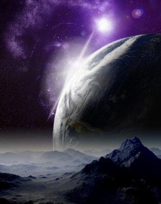 Cuadro Resumen de fondo del espacio profundo. En el viaje mucho futuro. Nuevo