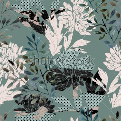 Cuadro Resumen de patrones sin problemas florales. Flores de acuarela, hojas llenas de texturas minimalistas de doodle. Fondo natural Pintado a mano ilustración de otoño para tela, textil, diseño de embalaje