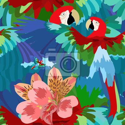 Resumen Dibujo De Acuarela De Dos Loros Flores Tropicales Y