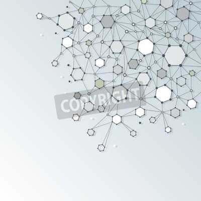 Cuadro Resumen Estructura de la molécula de ADN con polígono sobre fondo de color gris claro. Ilustración vectorial de la comunicación - la red para el concepto de tecnología futurista