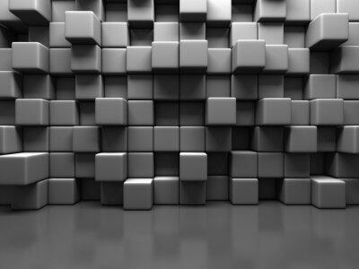 Cuadro Resumen Fondo gris Cubo bloques de la pared