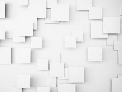 Cuadro Resumen forma geométrica 3d cubos blancos