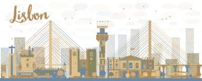 Cuadro Resumen horizonte de la ciudad de Lisboa, con edificios marrones y azules