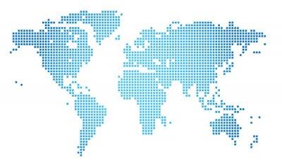 Cuadro Resumen ilustración vectorial de un mapa mundial de puntos