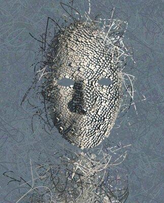 Cuadro RESUMEN Máscara surrealista con muchos alambres