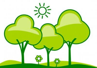 Resumen paisaje - los árboles y las flores