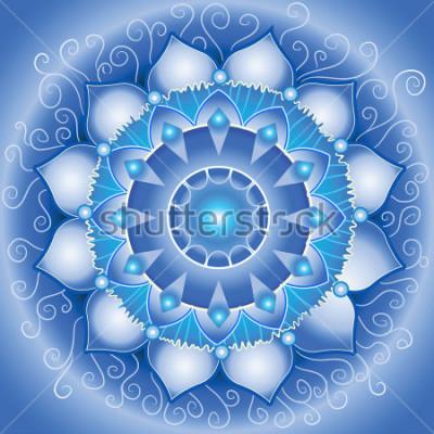 Cuadro Resumen patrón azul, mandala de vishuddha chakra vector