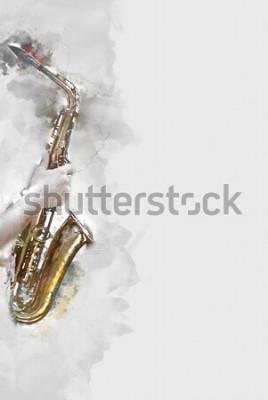 Cuadro Resumen saxofón en primer plano. De cerca, pintura de acuarela jazz tocando el saxofón.