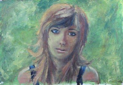 Cuadro Retrato abstracto de la muchacha en la pintura al óleo verde en lona