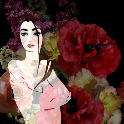 Cuadro Retrato de hermosa morena sobre fondo floral
