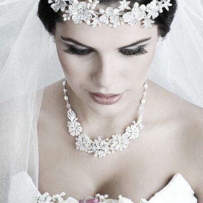 Cuadro Retrato de la hermosa novia. Vestido de novia. Decoración de la boda