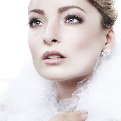 Cuadro retrato de la muchacha está en el estilo de la moda. Decoración de la boda. Aislado