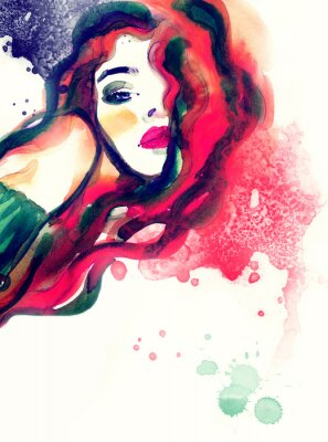 Cuadro Retrato de la mujer, fondo abstracto de la acuarela .fashion