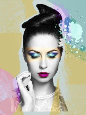 Cuadro Retrato de la mujer sensual hermosa con el peinado elegante