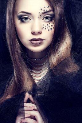 Cuadro Retrato de muchacha hermosa sexual con strass en la cara,
