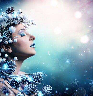 Cuadro Retrato de mujer de invierno - modelo de moda de belleza Niña con decoración de nieve