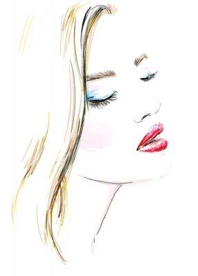 Cuadro Retrato de mujer hermosa. Pintado a mano ilustración de la moda