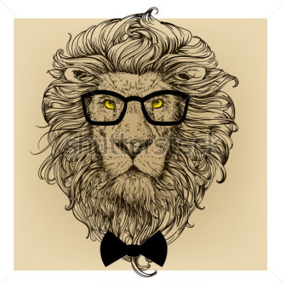Cuadro retrato de personaje de león
