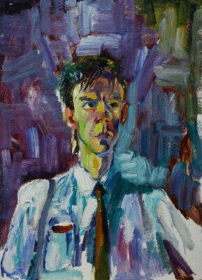 Cuadro Retrato de pintura al óleo con retrato masculino en colores brillantes Sobre lienzo