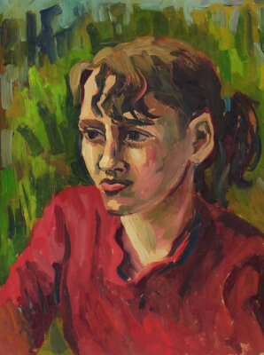 Cuadro Retrato de una chica joven. Pintura al óleo