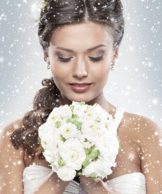 Cuadro Retrato de una joven novia con un ramo de flores