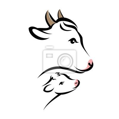 Retrato de vaca feliz, silueta de vector aislado en l negro simple ...