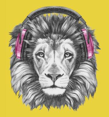 Cuadro Retrato del león con los auriculares. Ilustración dibujada a mano.
