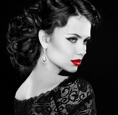 Cuadro Retro mujer. Retrato de la muchacha del modelo de manera. Foto blanco y negro.