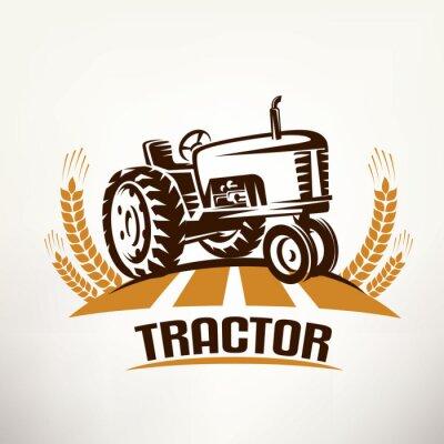 Cuadro Retro tractor símbolo del vector