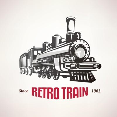 Cuadro Retro, tren, vendimia, vector, símbolo, emblema, etiqueta, plantilla