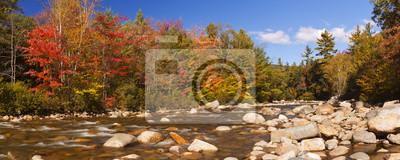 River through fall foliage, Swift River, New Hampshire, USA