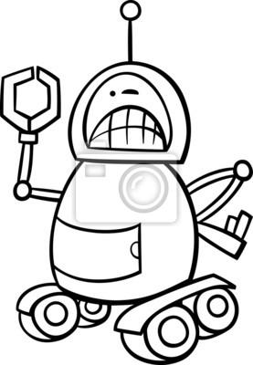 Cuadro Robot Enojado Página Para Colorear De Dibujos Animados