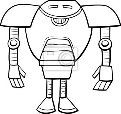 Cuadro Robot Página Para Colorear De Dibujos Animados