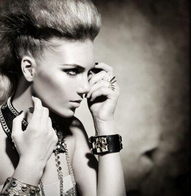 Cuadro Rocker Estilo Moda Retrato Modelo de chicas. Blanco y Negro