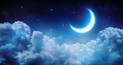 Cuadro Romántica Luna En Noche estrellada sobre las nubes