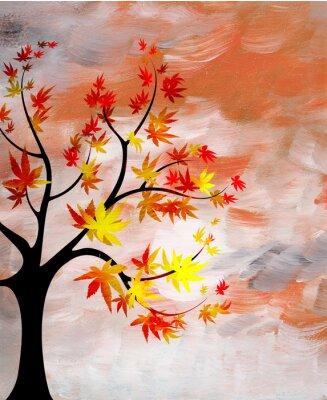 Cuadro romántica puesta de sol con un árbol