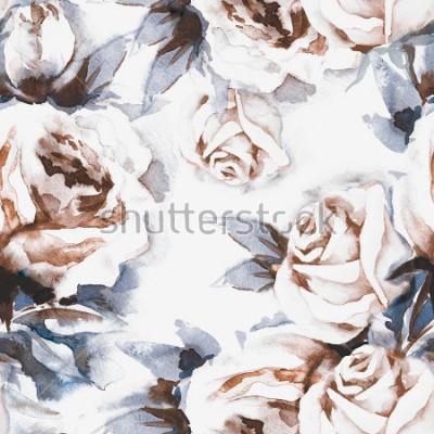 Cuadro Rosas de patrones sin complicaciones. Ilustración acuarela