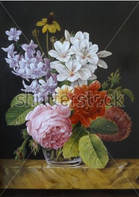 Cuadro Rosas en un jarrón de vidrio. Amapolas, violetas, manzanilla. Pintura. Naturaleza muerta.