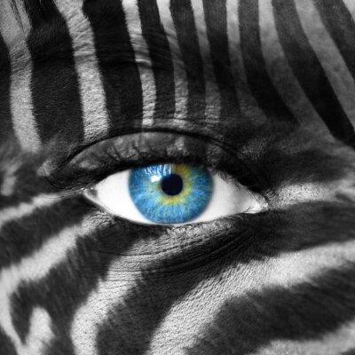 Cuadro Rostro humano con el patrón de cebra - Guardar concepto de especie en peligro de extinción