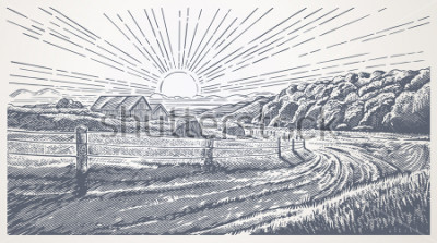 Cuadro Rural landscape with village in engraving style. Vector Illustration.