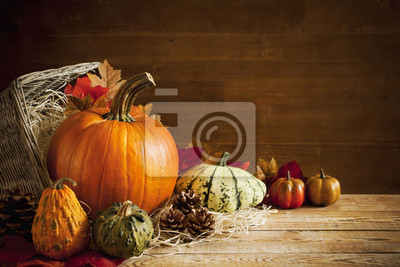 Rustic autumn still life with copy space